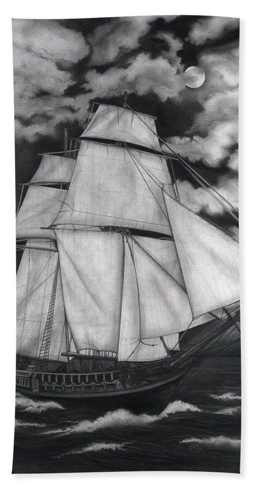 Ship Sailing Into The Northern Winds Bath Sheet featuring the drawing Northern Winds by Larry Lehman