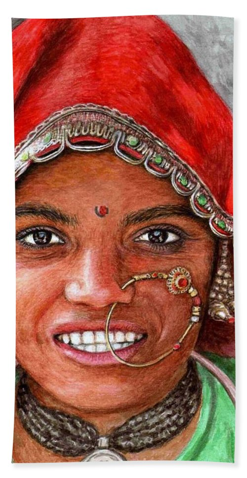 Woma Bath Towel featuring the painting Northindian Woman by Nicole Zeug