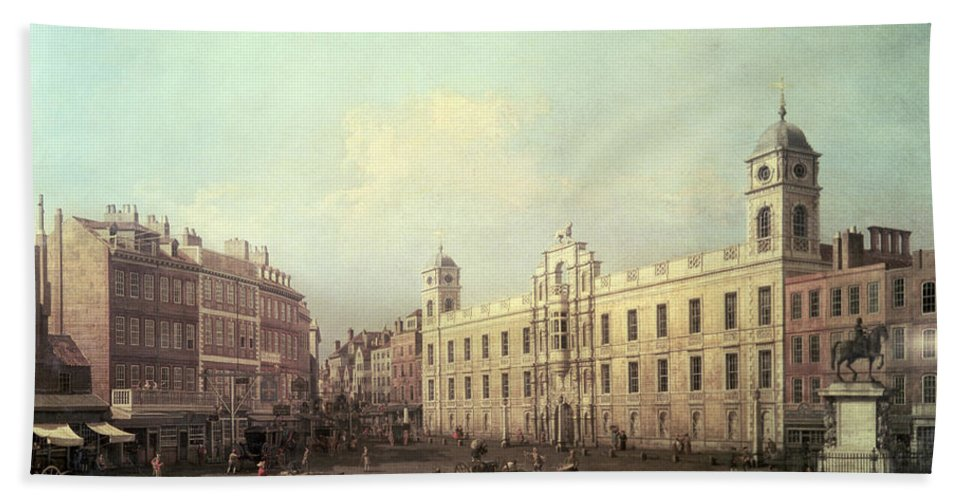 Northumberland House (oil On Canvas) By Canaletto (giovanni Antonio Canal) (1697-1768) Hand Towel featuring the painting Northumberland House by Canaletto