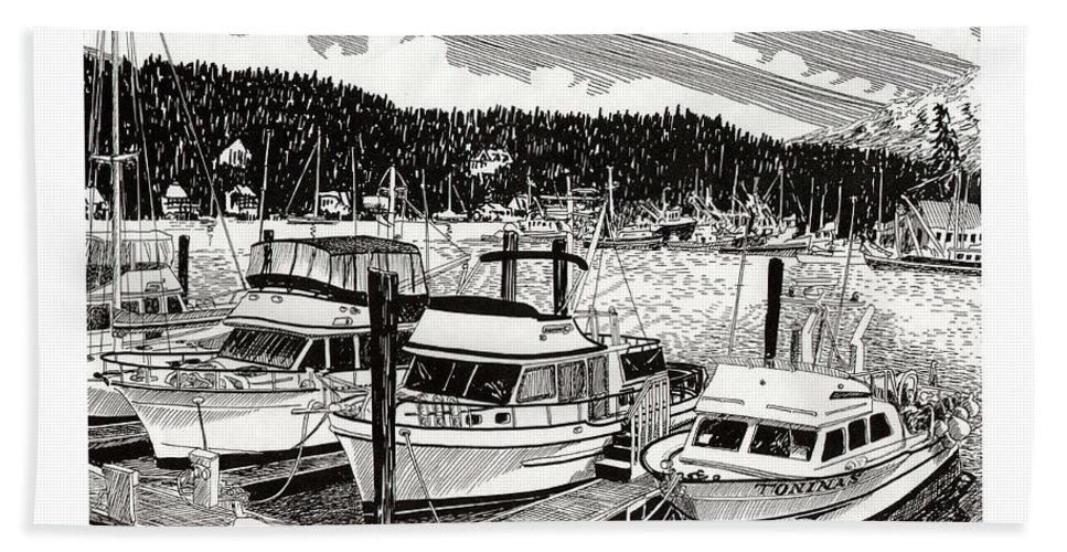 Yacht Portraits Bath Sheet featuring the drawing Gig Harbor Yacht Moorage by Jack Pumphrey