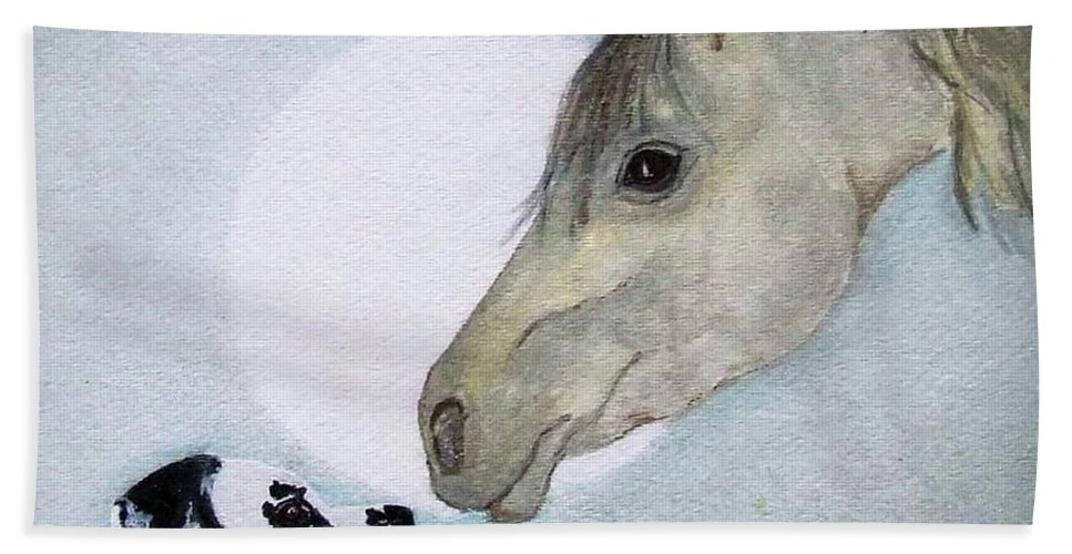 Dog Bath Towel featuring the painting Nose 2 Nose by Jacki McGovern