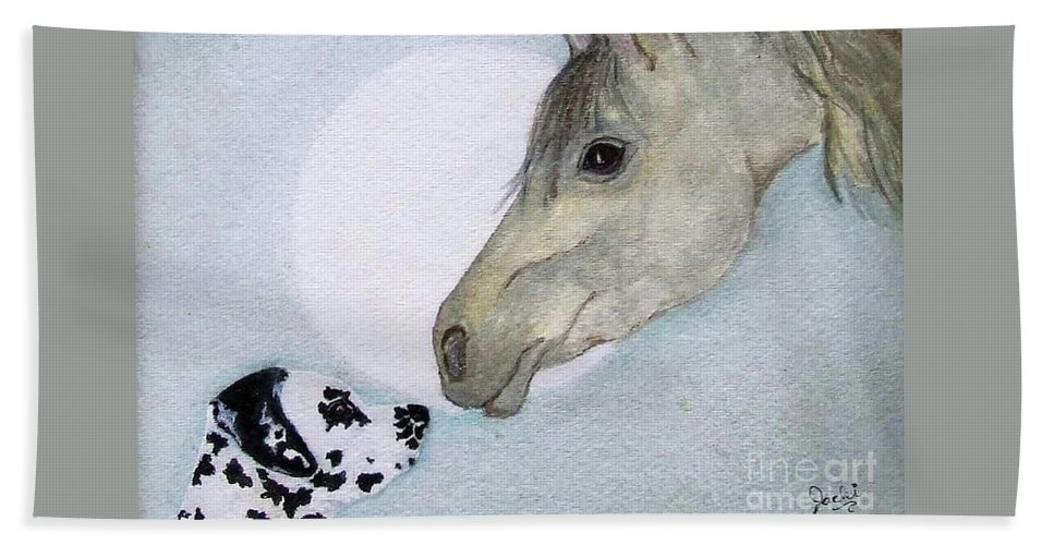 Dog Hand Towel featuring the painting Nose 2 Nose by Jacki McGovern