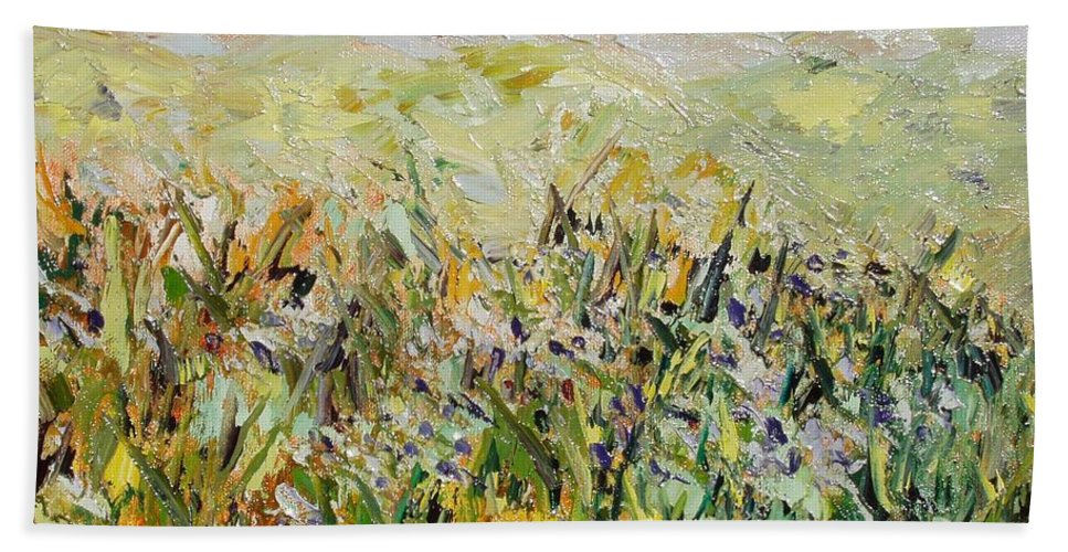 Field Paintings Bath Towel featuring the painting Nose Hill by Seon-Jeong Kim