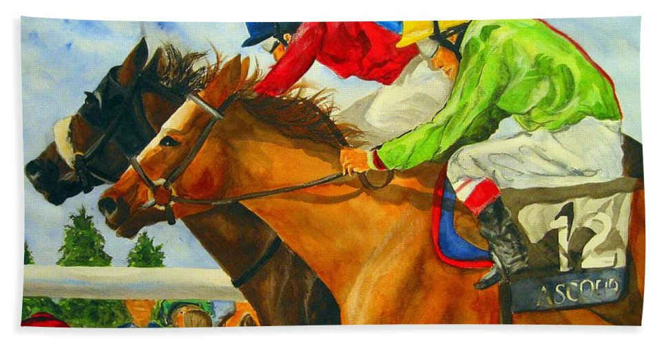 Horse Bath Towel featuring the painting Nose To Nose by Jean Blackmer
