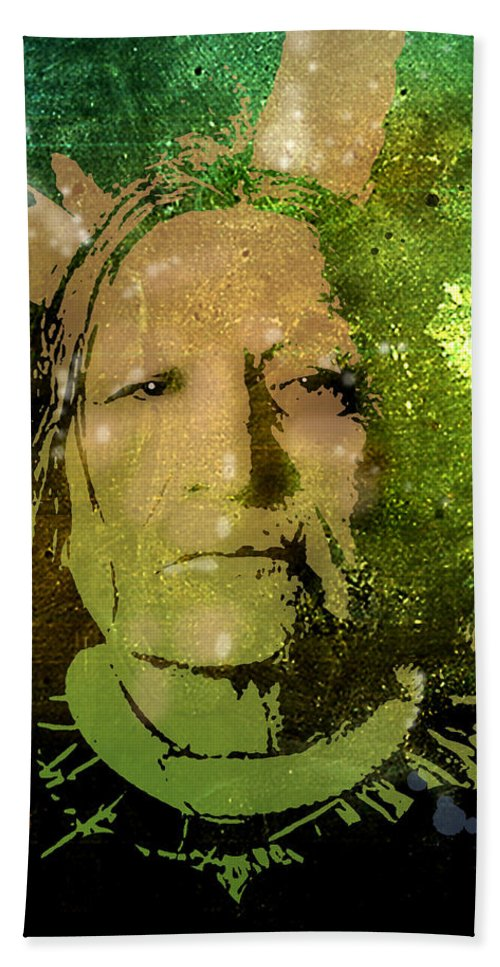 Native Americans Hand Towel featuring the painting Not Afraid Of Pawnee by Paul Sachtleben