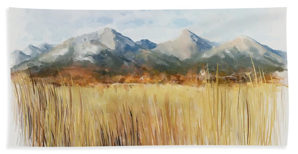 Alps Hand Towel featuring the painting Not Far Away by Ivana Westin