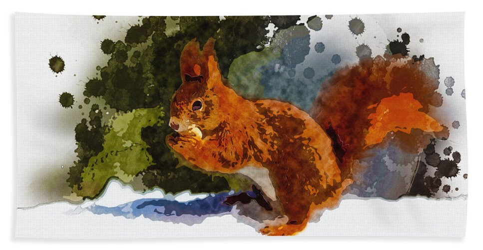 Art & Collectibles Bath Sheet featuring the digital art Not Much Goes On In The Mind Of A Squirrel by Don Kuing