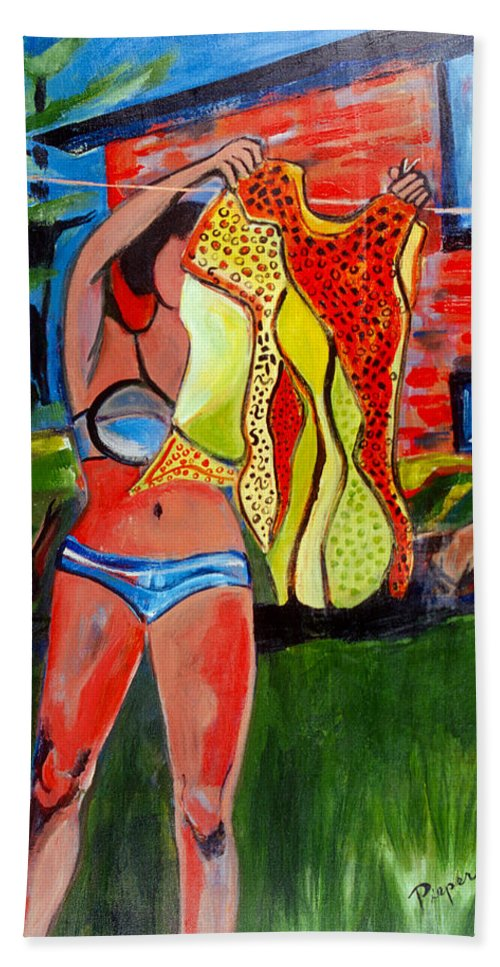 Girl In Bikini Hand Towel featuring the painting Not Your Grandma's Clothes Line by Betty Pieper