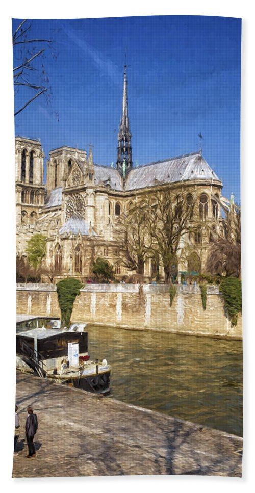 Joan Carroll Hand Towel featuring the photograph Notre Dame And The Seine Painterly by Joan Carroll