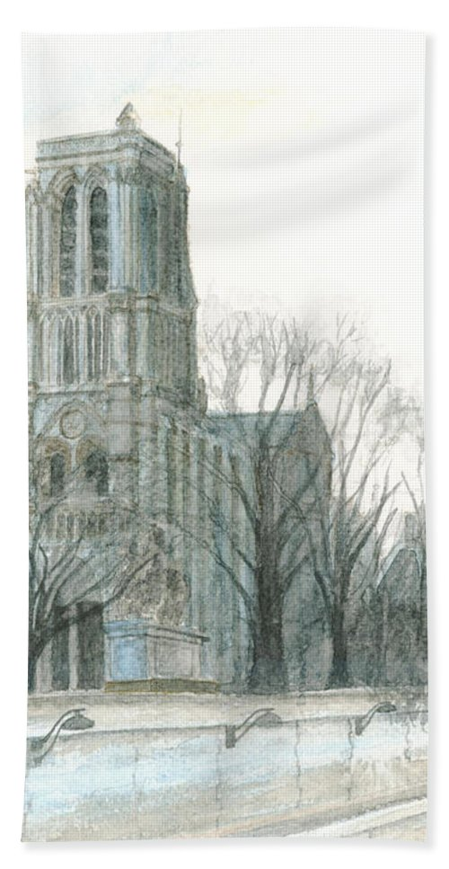 Notre Dame Bath Sheet featuring the painting Notre Dame Cathedral In March by Dominic White