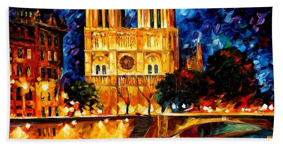 Afremov Bath Sheet featuring the painting Notre Dame De Paris by Leonid Afremov