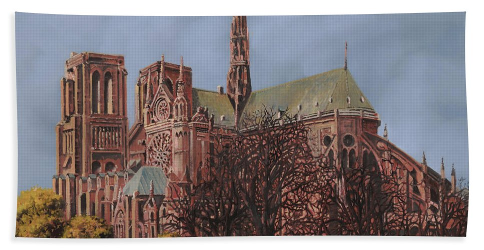 Paris Hand Towel featuring the painting Notre-dame by Guido Borelli