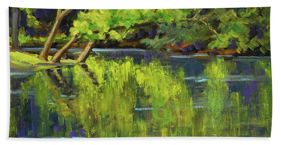 Impressionism Bath Towel featuring the painting Nottely Reflections by Keith Burgess