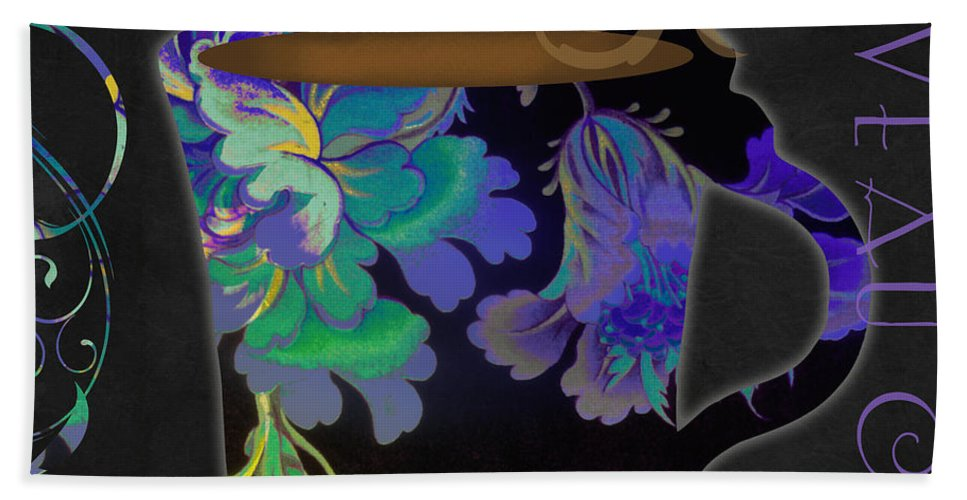 Coffee Cup Bath Sheet featuring the painting Nouveau Cafe Cool by Mindy Sommers