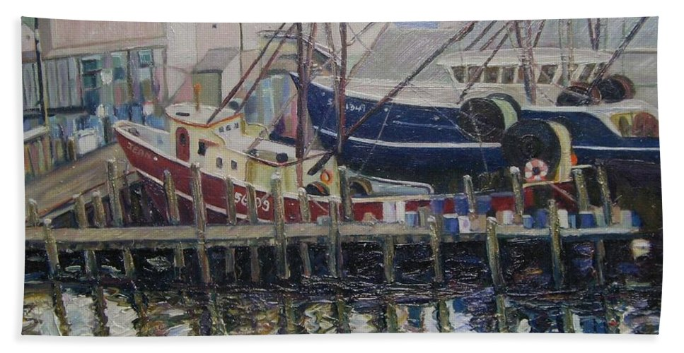 Boats Bath Towel featuring the painting Nova Scotia Boats At Rest by Richard Nowak