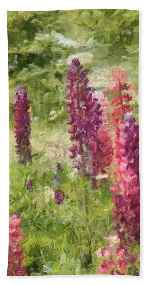 Nova Scotia Bath Towel featuring the painting Nova Scotia Lupine Flowers by Jeffrey Kolker