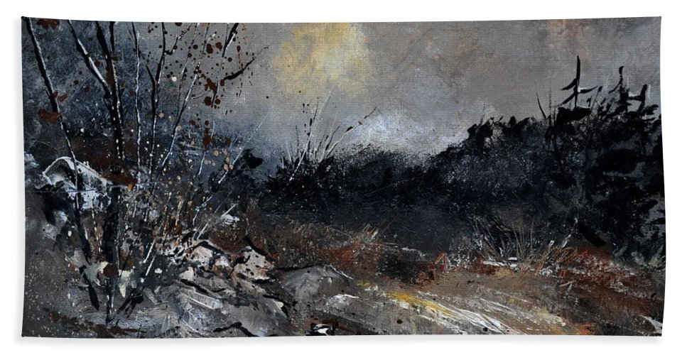 Landscape Hand Towel featuring the painting November 1110 by Pol Ledent