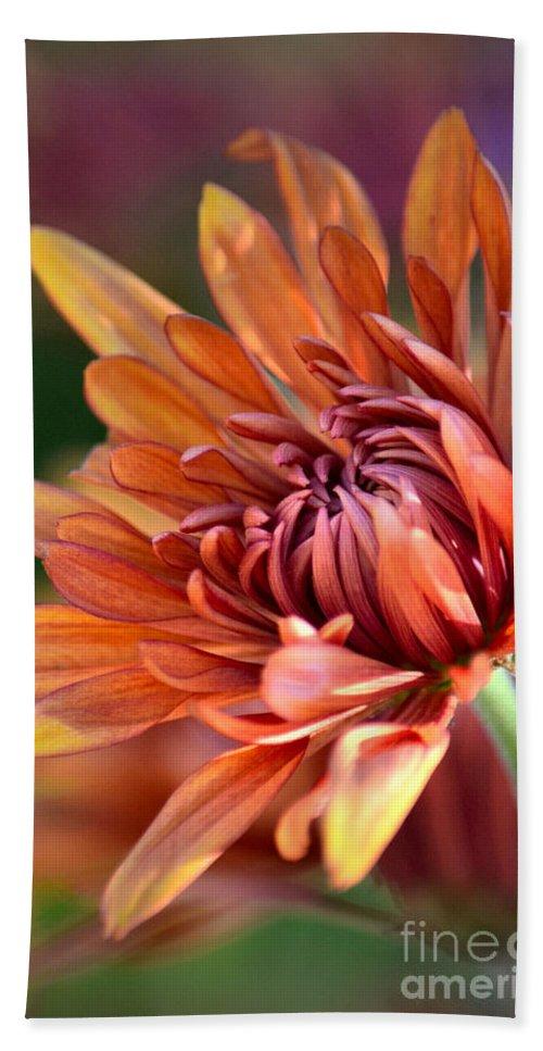 Chrysanthemum Bath Sheet featuring the photograph November Beauty by Deb Halloran
