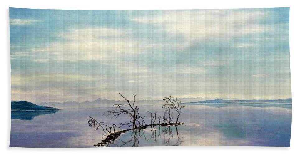 Late Novemeber In Bavaria Bath Sheet featuring the painting November On A Bavarian Lake by Helmut Rottler