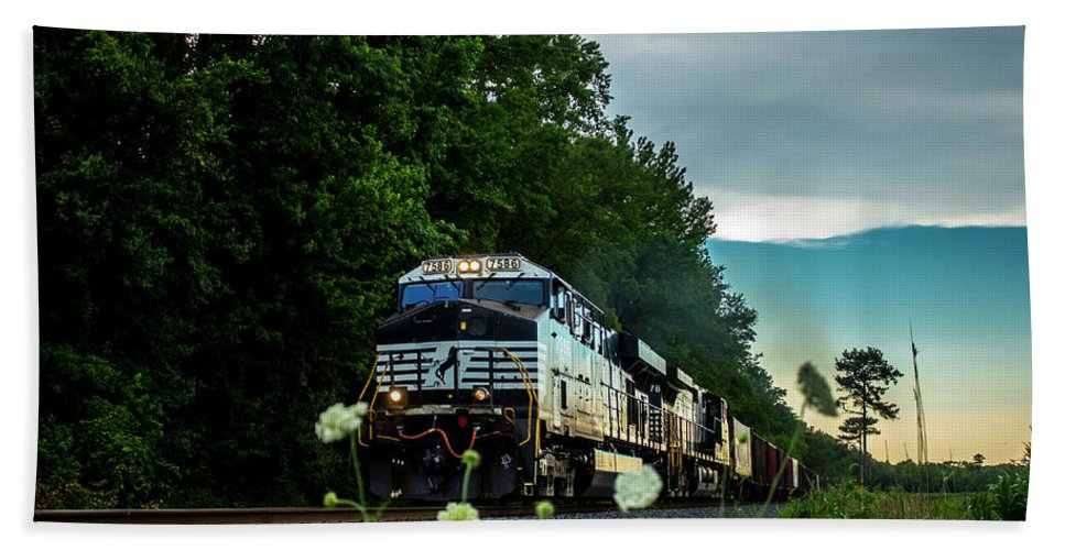 Train Bath Sheet featuring the photograph Ns 62w With Blurred Flowers by Andrew Craun
