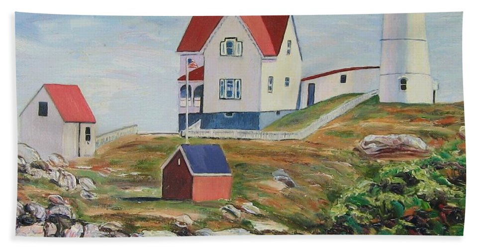 Nubble Light House Hand Towel featuring the painting Nubble Light House Maine by Richard Nowak
