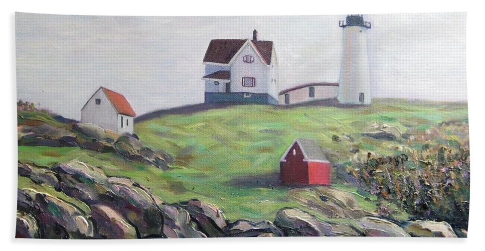 Maine Hand Towel featuring the painting Nubble Light House by Richard Nowak