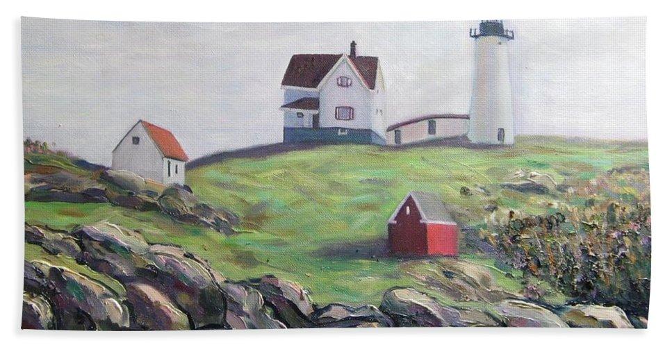 Maine Bath Towel featuring the painting Nubble Light House by Richard Nowak