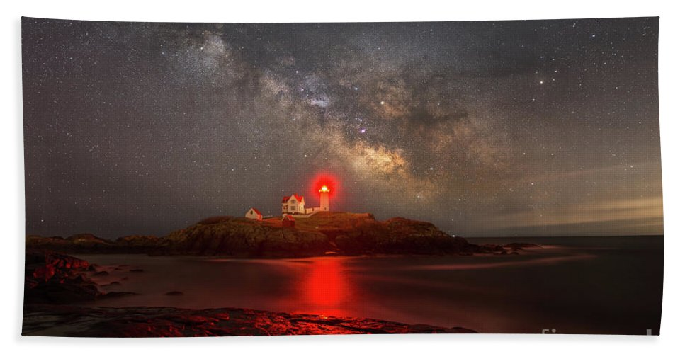 Nubble Lighthouse Bath Sheet featuring the photograph Nubble Light Milky Way Rising by Michael Ver Sprill