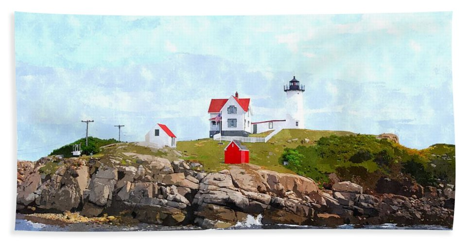 Clouds Bath Sheet featuring the photograph Nubble Light Nlwc by Jim Brage
