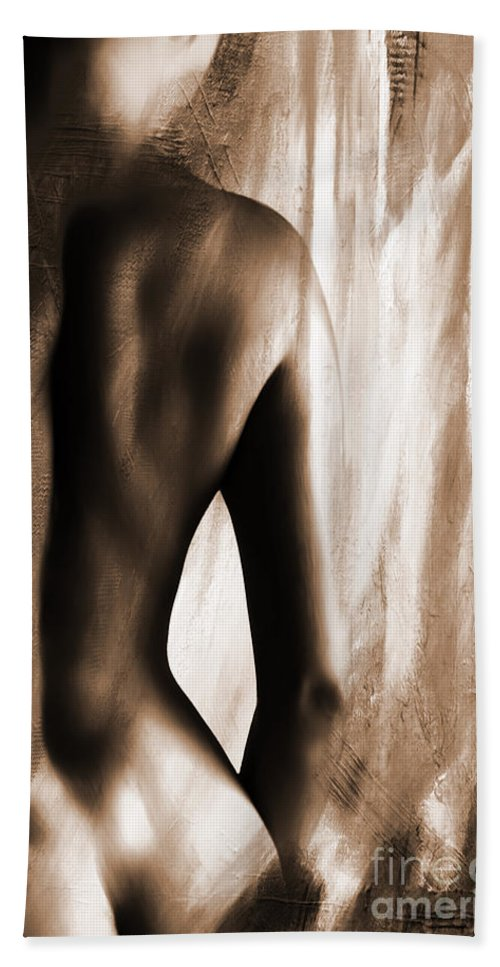 Nude Bath Sheet featuring the painting Nude 028r by Gull G