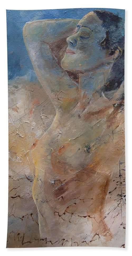 Nude Bath Towel featuring the painting Nude 0508 by Pol Ledent