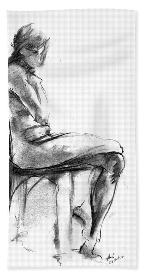 Nude Bath Towel featuring the drawing Nude 1 by Ani Gallery