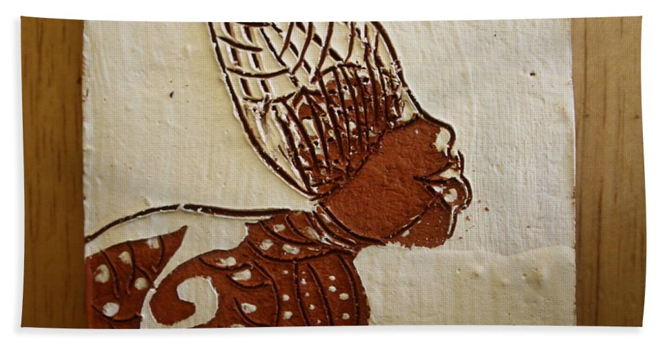 Jesus Bath Sheet featuring the ceramic art Nude 11 - Tile by Gloria Ssali