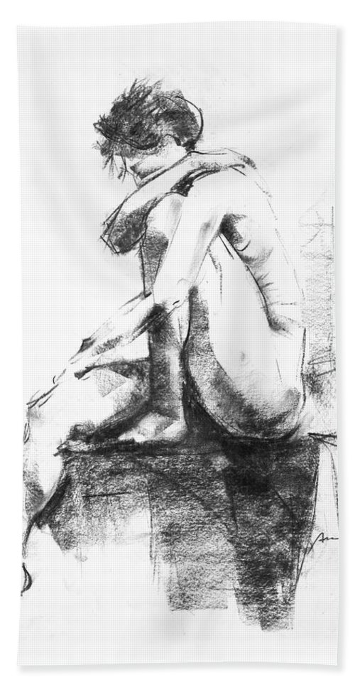Nude Bath Towel featuring the drawing Nude 11 by Ani Gallery