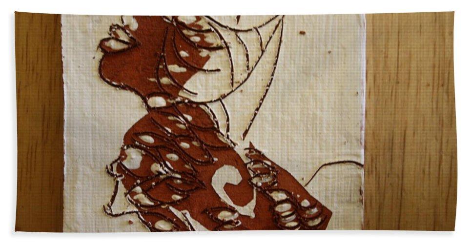 Jesus Bath Sheet featuring the ceramic art Nude 12 - Tile by Gloria Ssali