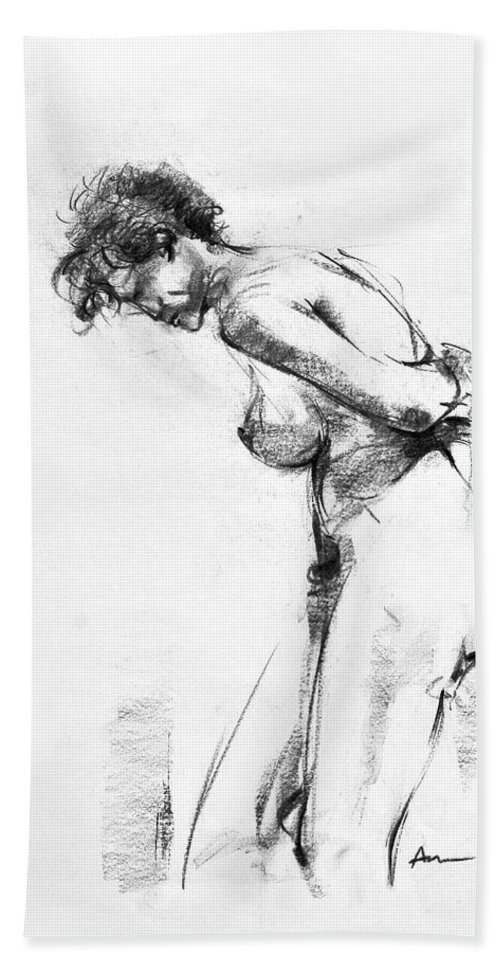 Nude Bath Towel featuring the drawing Nude 2 by Ani Gallery
