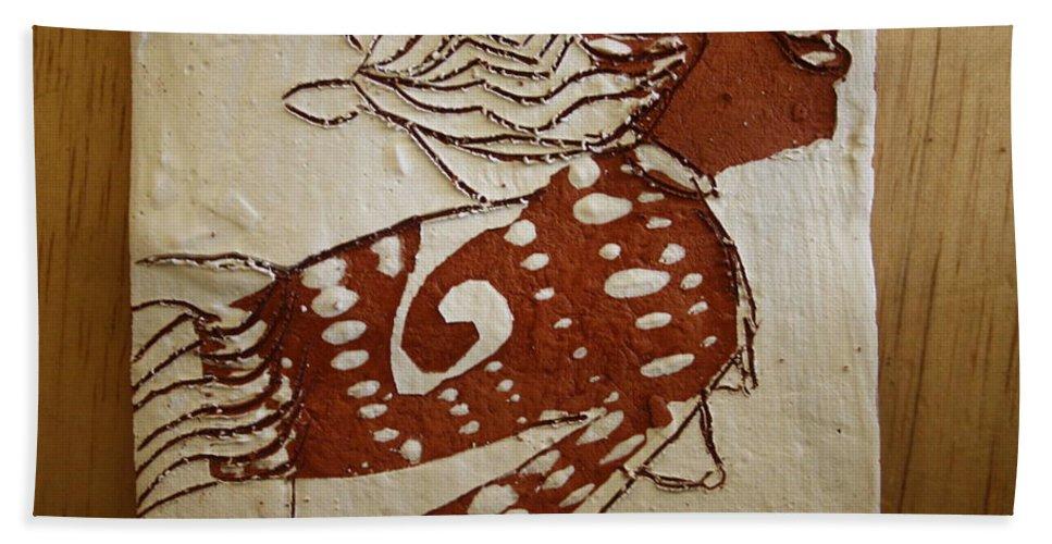 Jesus Bath Sheet featuring the ceramic art Nude 3 - Tile by Gloria Ssali