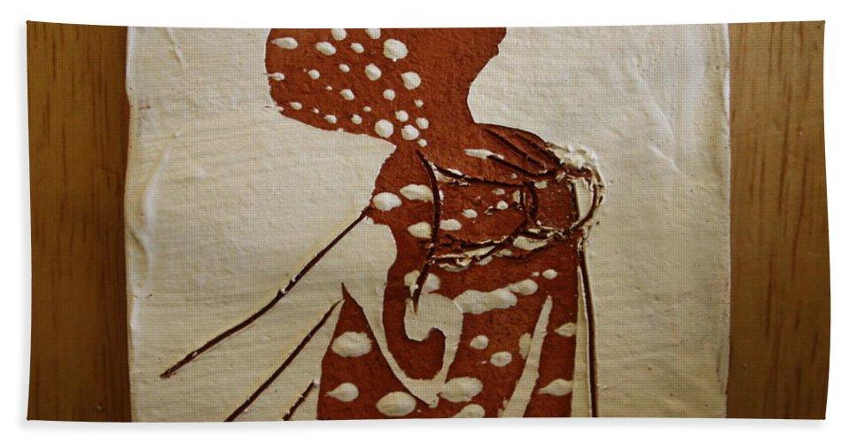 Jesus Hand Towel featuring the ceramic art Nude 4 - Tile by Gloria Ssali