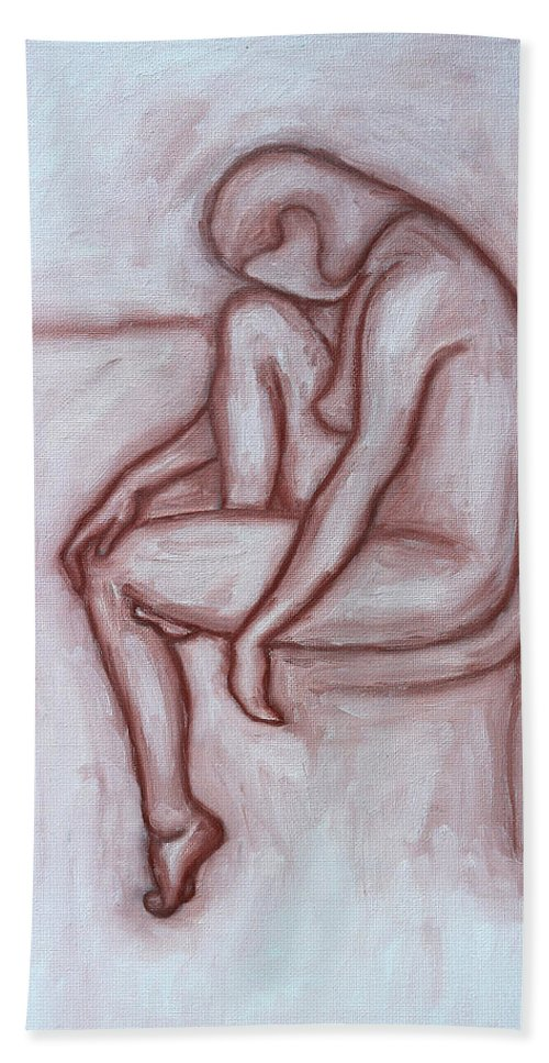 Nude Hand Towel featuring the painting Nude 41 by Patrick J Murphy