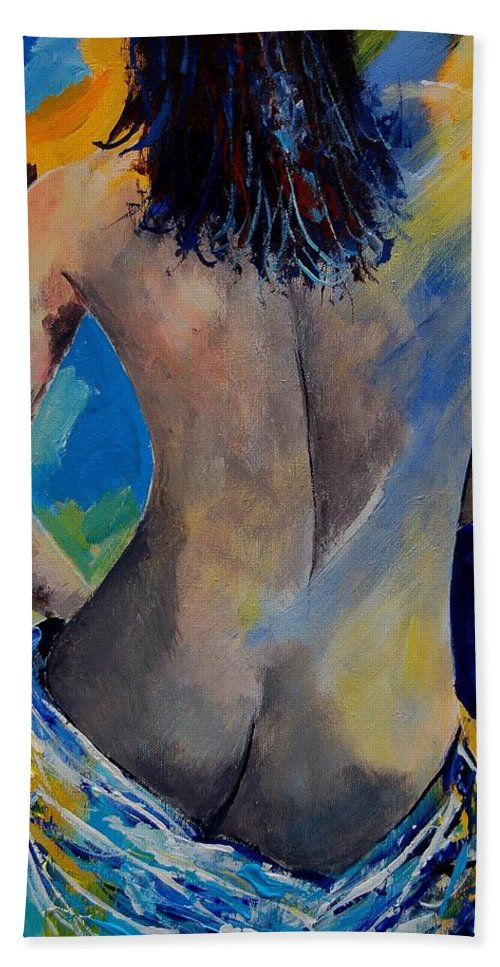 Nude Hand Towel featuring the painting Nude 45901111 by Pol Ledent