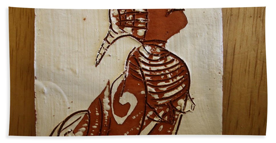 Jesus Bath Sheet featuring the ceramic art Nude 5 - Tile by Gloria Ssali