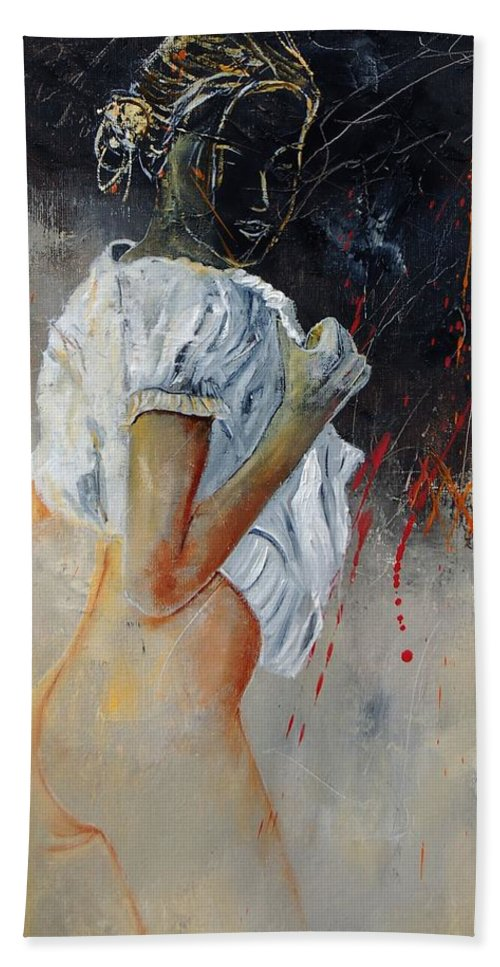 Nude Hand Towel featuring the painting Nude 560508 by Pol Ledent
