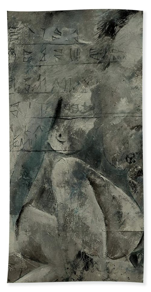 Nude Hand Towel featuring the painting Nude 560845 by Pol Ledent