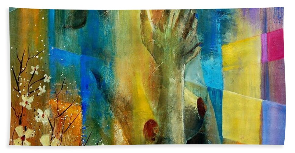 Nude Hand Towel featuring the painting Nude 5609082 by Pol Ledent