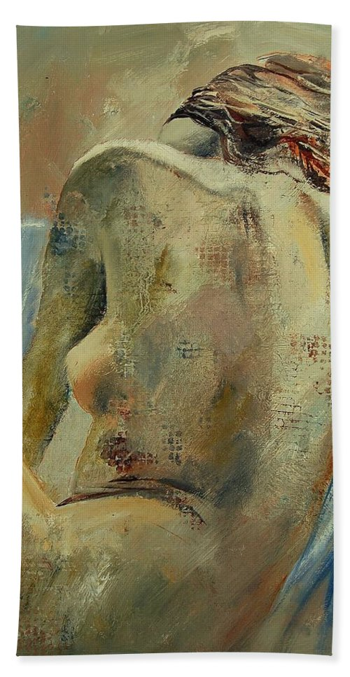Hand Towel featuring the painting Nude 56905092 by Pol Ledent