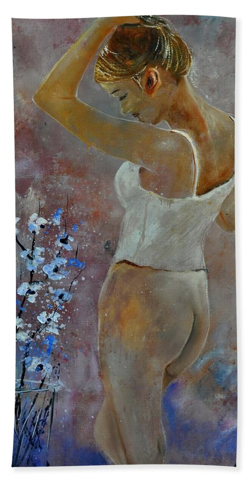 Nude Hand Towel featuring the painting Nude 570121 by Pol Ledent