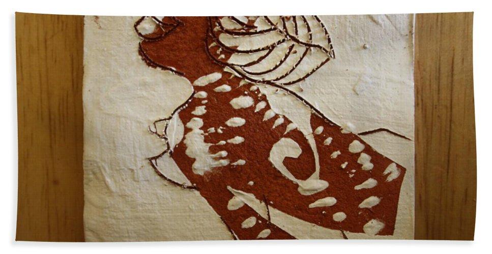 Jesus Bath Sheet featuring the ceramic art Nude 6 - Tile by Gloria Ssali