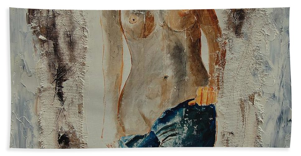 Girl Bath Towel featuring the painting Nude 674521 by Pol Ledent
