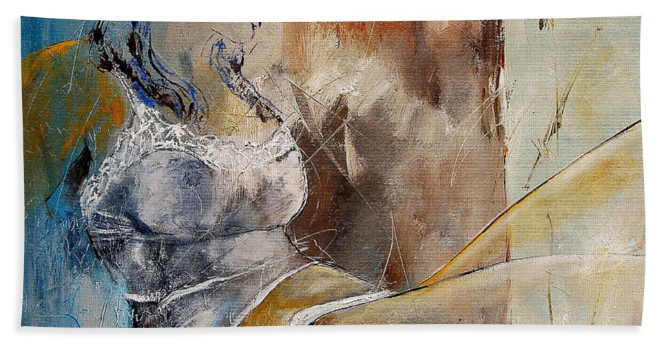 Nude Bath Sheet featuring the painting Nude 67524236 by Pol Ledent