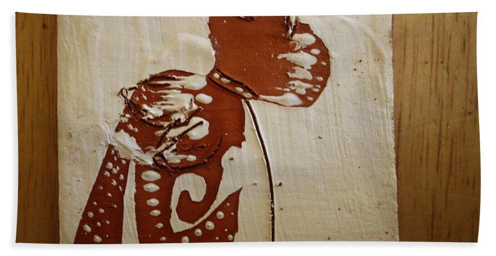 Jesus Bath Sheet featuring the ceramic art Nude 8 - Tile by Gloria Ssali